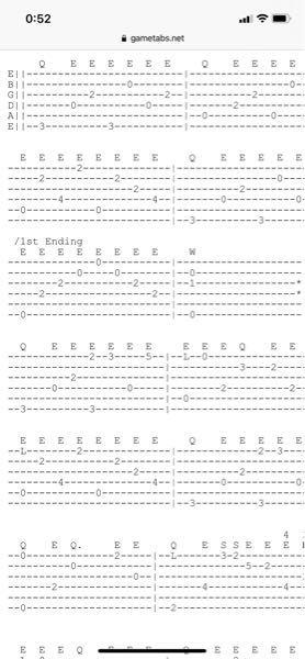フィンガースタイルのTAB譜で上部に「Q」「E」「S」等の表記があるのですが、こちらが何を意味しているのか教えてください。