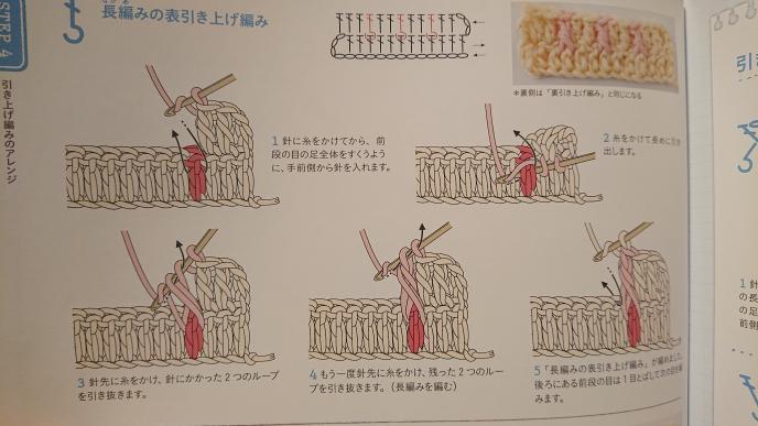 かぎ針編みの長編みの表引き上げ編みについて教えてください。 画像右下にある、 「後ろにある前段の目は1目とばして次の目を編みます」という文章がどういう意味なのかわかりません。 イラストではとばして次を編むような表記には見えないのですがどういうことでしょうか?