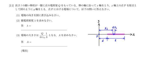 物理の電場の問題で写真の問題(1)から(3)が分からないので計算式などの解き方を丁寧に教えていただきたいです。よろしくお願いします!