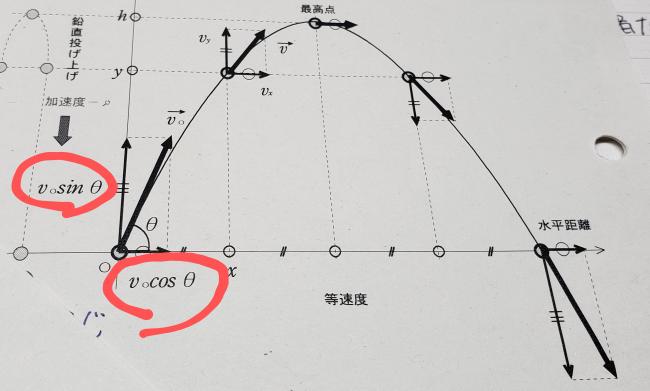 高1の物理基礎です! 斜方投射の図なのですがこの記号の意味がわかる方がいらしたら教えてください!