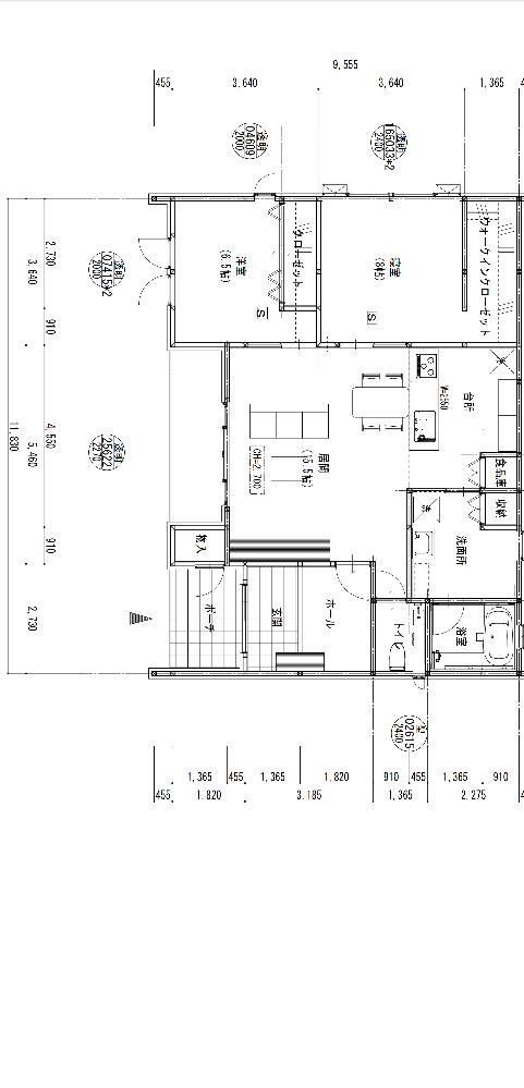 無知なので教えてください! この図面から読み取るに延べ床面積はどのくらいになりますか?ご教示ください!ちなみに横11.83縦9.555となっております!