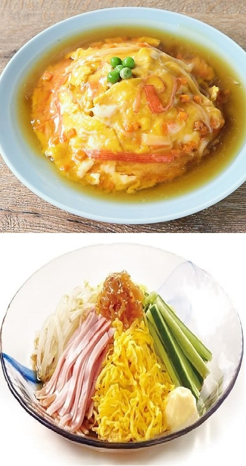 天津飯と冷やし中華は、実は中国人からは奇異に見えるのですか? 中国料理もどき? . 日本で中華料理屋さんに行くと、大体はメニューに含まれていることの多い天津飯と冷やし中華(夏場)。 しかし、実際の中国には天津飯や冷やし中華は存在しないと聞きました。日本人が作った中国料理っぽい料理に過ぎないと。 そのために、日本を旅行中の中国人たちが天津飯や冷やし中華を目の当たりにすると、かなり奇異に見えるとも。 特に冷やし中華は、中国には冷たい麺を食べる文化がないからさらに。 どうなのでしょう、これって真実なのでしょうか? それとも、誇張された話であり、天津飯と冷やし中華は中国の方たちにも、さほど奇異には見えてないのですかね? 中華料理好きや中国人の友人知人がおられる方など、ぜひ皆様のご意見をお聞かせください。 画像はクリックすれば大きく見れると思います。