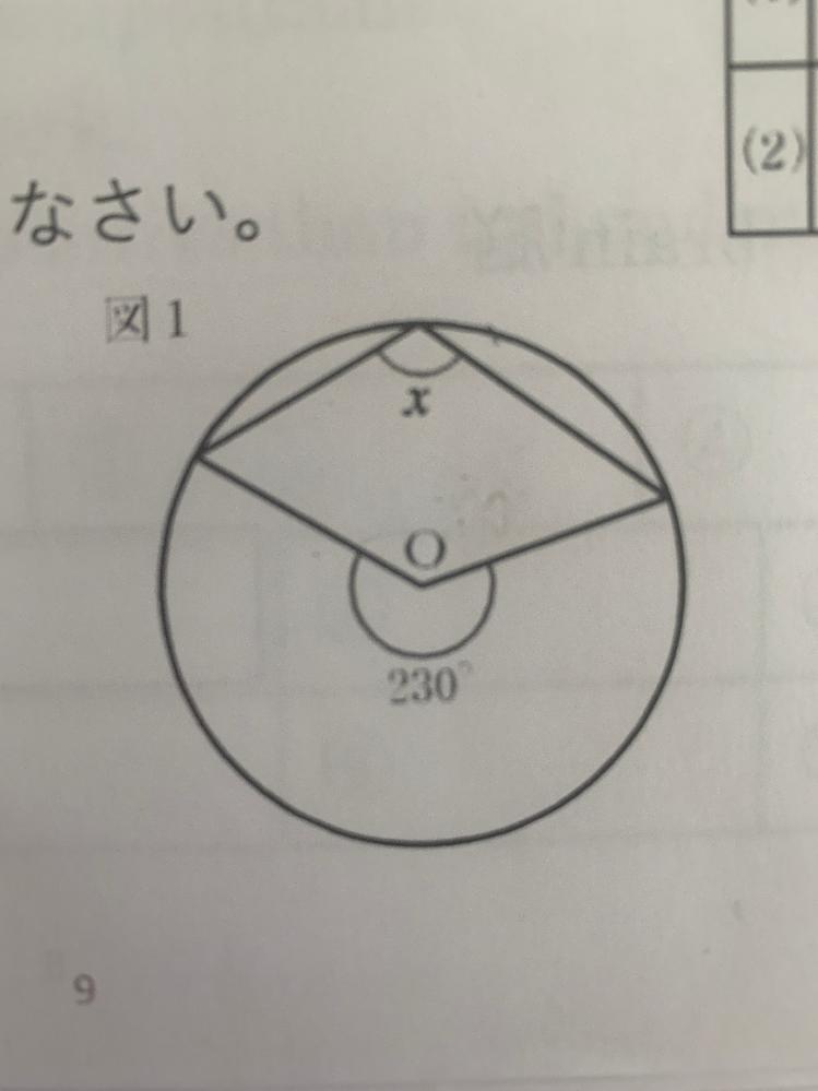 この円のx角の大きさを教えてください