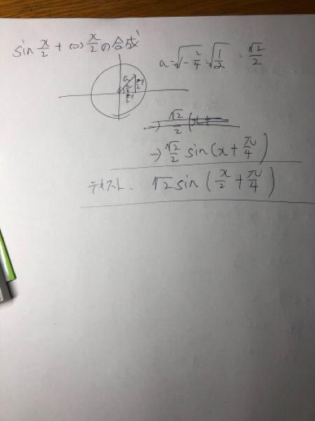 三角関数 合成の問題です 今まで、写真の上のやり方で合成できていたのですが、テキストと合わなくて困っております。 どこが間違っているか教えていただけませんか。