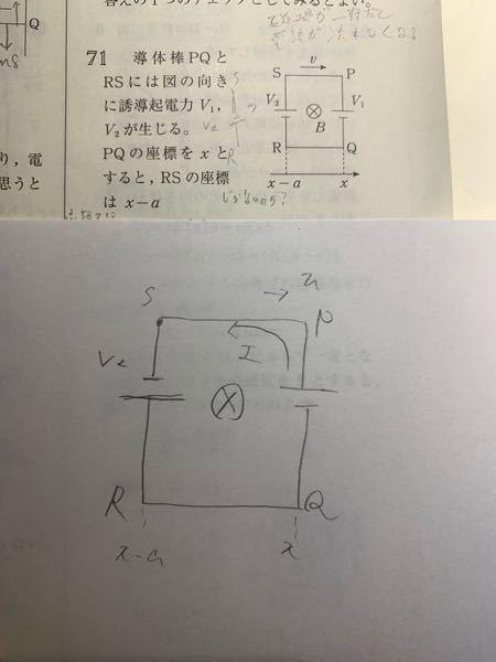 誘導起電力でコイルがだんだん磁場に入っていて、出ていっていく問題なのですが、コイル全体が磁場に入ったとき、右端の方はQからPに電流が流れるのは理解できるのですが、なぜ左端の方はRからSに流れるのでしょうか ? 自分は磁場の変化を妨げる向きに誘導起電力が流れ、その電流の向きは右ネジの法則から求めているのですが...