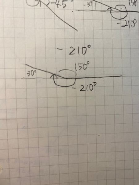 -210度の動径を書けという問題なのですが、 30度と150度どちらを書いてもいいんでしょうか?