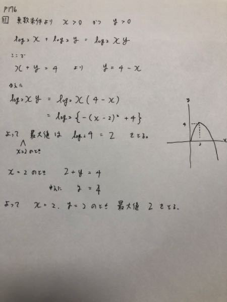 【高校数学】 「x+y=4のとき、log2(x)+log2(y)の最大値と、そのときのx,yの値を求めよ。」 下の写真は、この問題の答案です。 添削をお願いします。