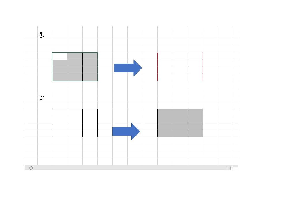 Excel VBAについて教えてください。 画像のように、任意の範囲を選択した後に、 その範囲内について ① その範囲内の両端に赤線を入れる ② その範囲内を塗りつぶす この2種類のマクロを教えてください。 ご教授のほど、よろしくお願いします。