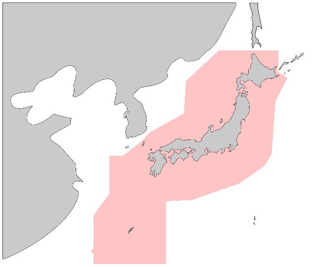 大日本帝国軍時代(戦前)の防空識別圏を知ってる人いますかね?教えてください。 (今の防空識別圏の画像載せときます。)