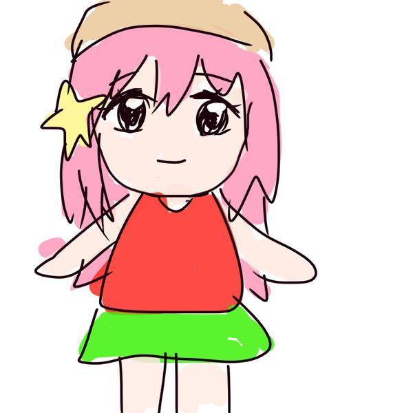 画像あり。アニメキャラクターを探しています。 駐車場で、隣の車のミラーにアニメキャラのマスコットが吊るされていたのですが、それがとても可愛いくて、誰なのか気になっています。 特徴は、髪はピンク色、星型の髪飾りを1つ片側に着けている、赤い服と着ていて緑色のスカートを穿いていました。ベージュ?の帽子をツバを後ろにしてかぶっています。 雑ですが、うろ覚えながら描いてみました。こんな感じだったと思います。 車外から見たので色味は違うかもしれません。 分かる方いませんか??