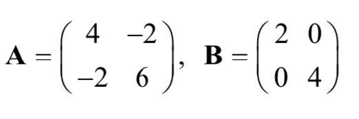 行列AとBが以下のように指定された場合の、固有値と固有ベクトルの求め方を教えてください。 答えだけでなく、説明をしてほしいです。 よろしくお願いします。