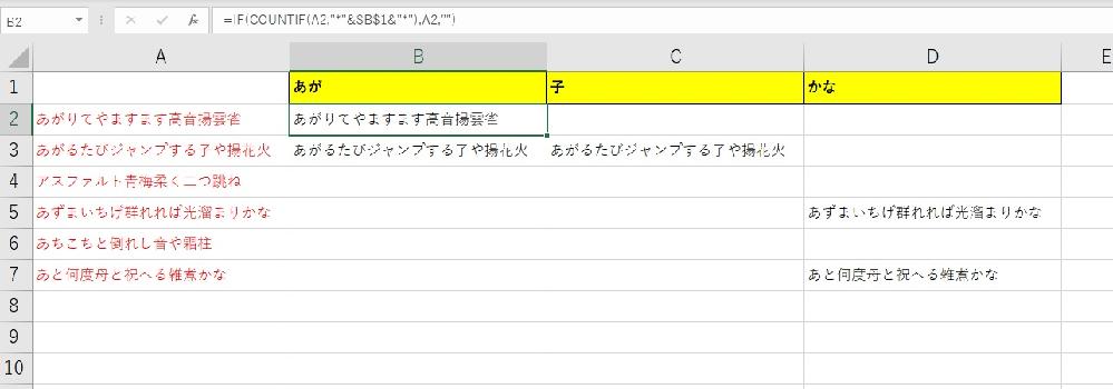 """IFとCOUNTIFについてなのですが 次の関数を、B2に入れています =IF(COUNTIF(A2,""""*""""&$B$1&""""*""""),A2,"""""""") A2のセル内の文字の中に、B1セルの文字が含まれていれば、A2をB2に表示させる ということを複数列でやっています これを A2のセル内の文字の中に、「B1~D1」のどれかの文字が入っていれば、特定の列に表示させることは可能でしょうか? もし可能であれば、どなかた方法を教えていただけますでしょうか よろしくお願いします"""