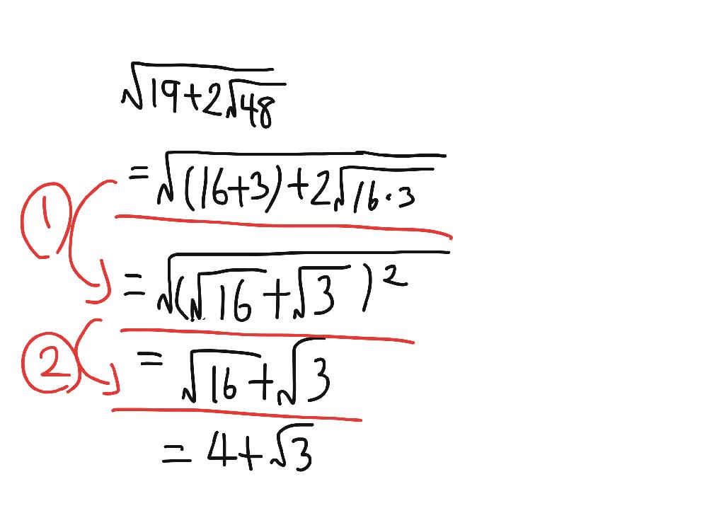 数学Ⅰ、2重根号の質問です。 ①と②の途中式が分かりません。細かい途中式を教えてください。よろしくお願いします。