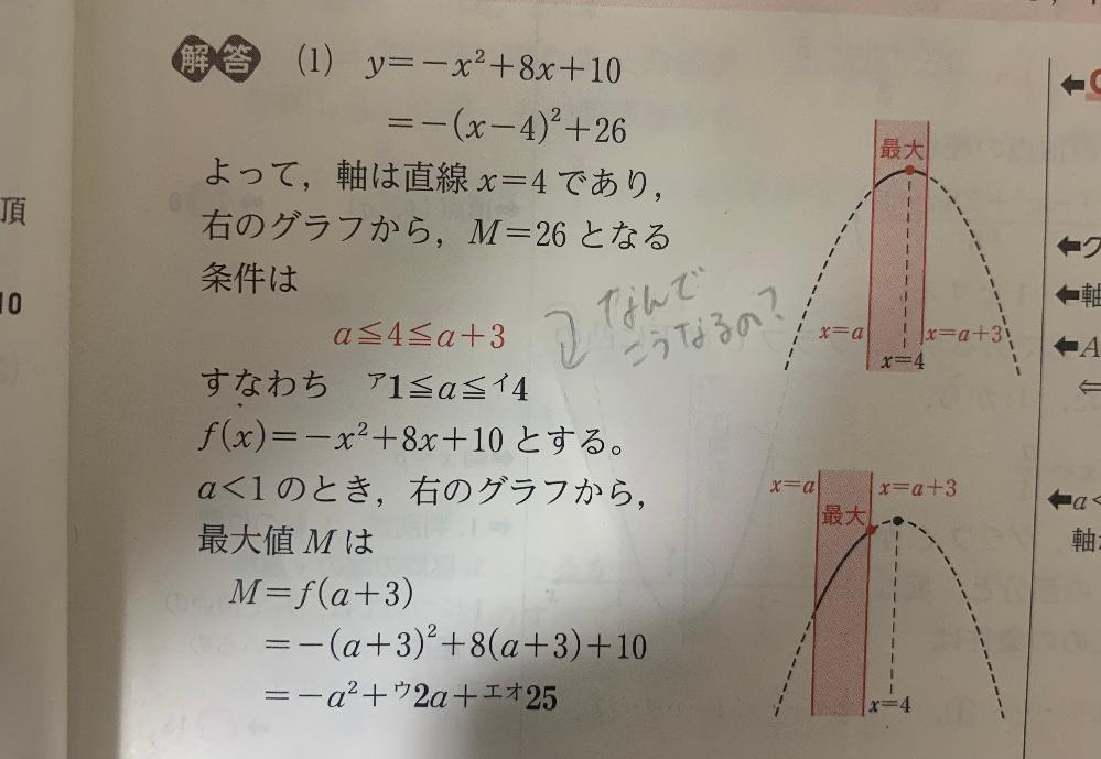 数ⅠA 二次関数の問題です どういう計算をしたらこうなるんですか(´・・`)