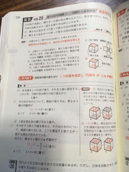 (1)の問題で 立方体の 上面を一つの色に固定するなので 6C1=6 下面を上面以外の色で塗るので 5C1= 5 側面の塗り方は,異なる4個の円順列で (4ー1)!=6 6×5×6=180 が答えになると思ったのですが最初の6C1をやらないのは何故ですか?