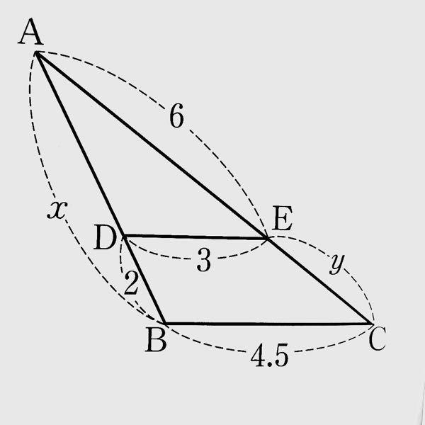 至急です、この問題の解説をお願いします! 答えはx=6cm、y=3cmになります。