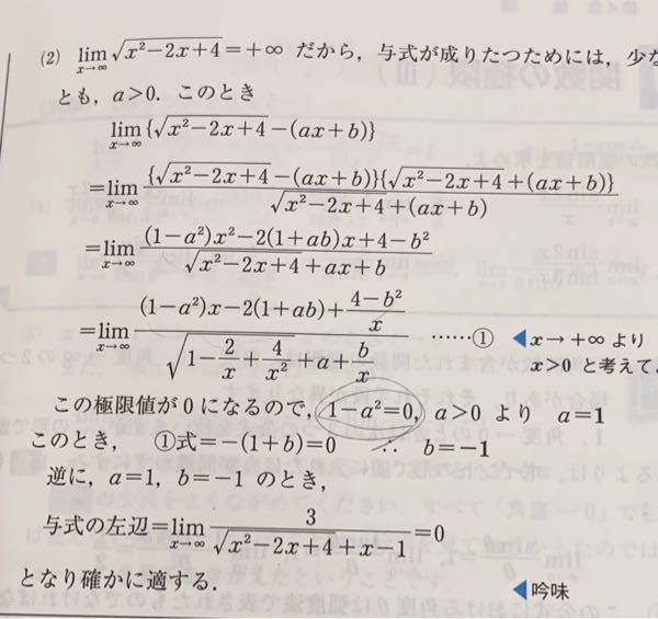 この丸がついている部分がわかりません。1-a^2=0だとしても、xは∞に近づけるので0×∞でふていけいになりせんか?たすけてください