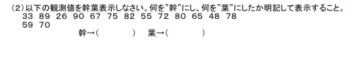 統計学の問題です。幹葉表示の問題が分からないので解説して頂けると助かりますm(_ _)m
