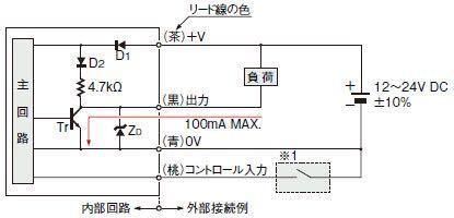入出力回路についてです。 以下の図のコントロール入力は普通の電源オンオフという認識で良いのでしょうか。 またこの回路を組むにあたってコントロール入力部はどのようなパーツ?を使うと良いでしょうか。