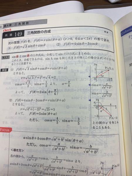 三角関数の合成の時に cosは、X軸 sinは、y軸なのに どうして√3をX軸にとり、y軸に1をとってるんですか?
