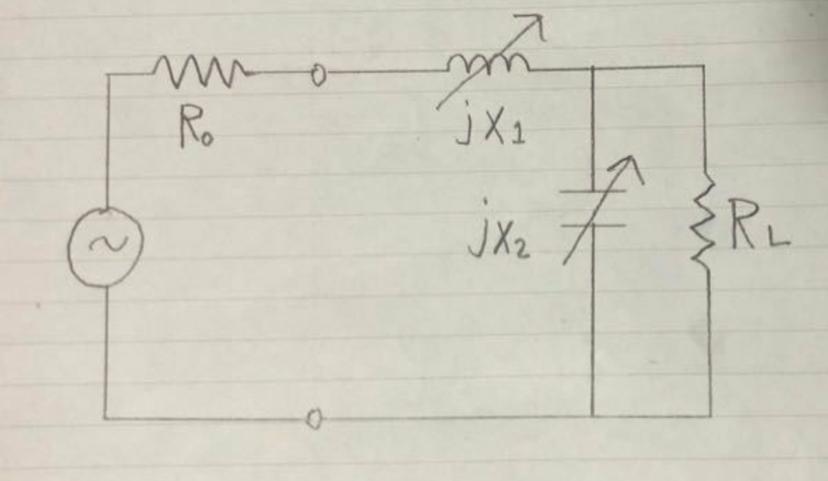 図の回路において、RLにPmaxが送られるように、X1.X2を定める。ただし、RL>R0とする。 この問題について解説と解答して頂きたいです。