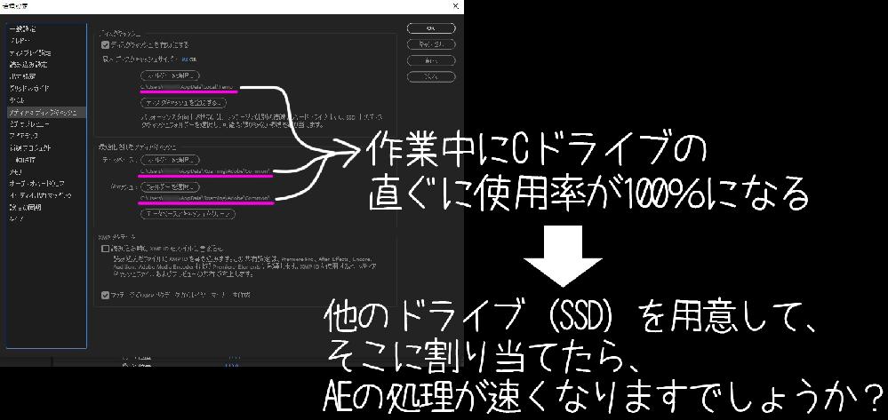 After effectsで色々なものを作っていて、直ぐにCドライブの使用率が100%になります。 AEの処理速度もカクカクに遅くなるのですが、これって『環境設定→メディア&ディスクキャッシュ』の 1、ディスクキャッシュ と 2,最適化されたメディアキャッシュ を指定するフォルダーに、 2TBくらいのSSDドライブを用意して、それに割り当てたら、AEの処理は早くなりますでしょうか?① これら(1と2)ってメモリが足らない時に使う、ディスクのことを言ってるんですよね?②