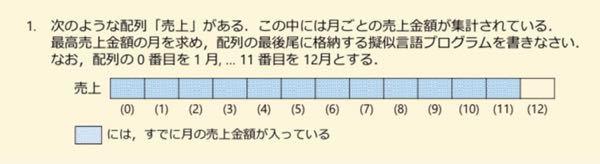 下の写真の問題の解答を教えて頂きたいです。 流れ図なら分かるのですが、疑似言語でやるとなるとさっぱり書き方が分かりません。