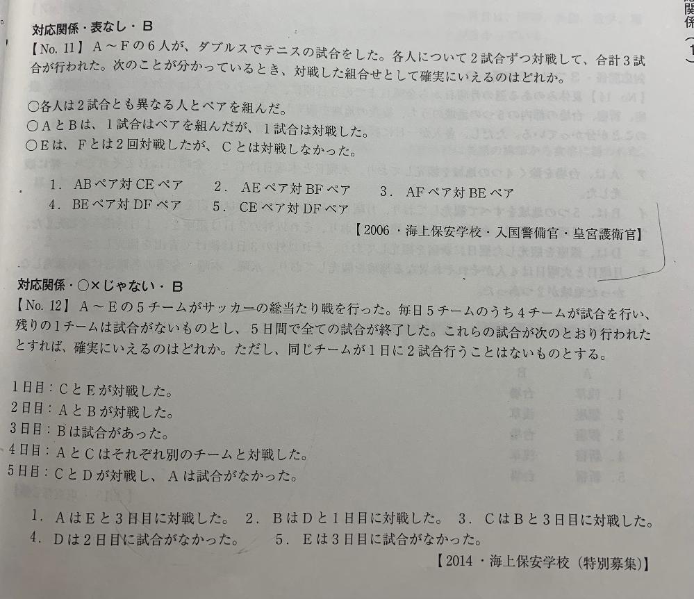 これらの解き方がわからず困っています。 解説をしていただけると幸いです。答えは No11が5 No12が5です。