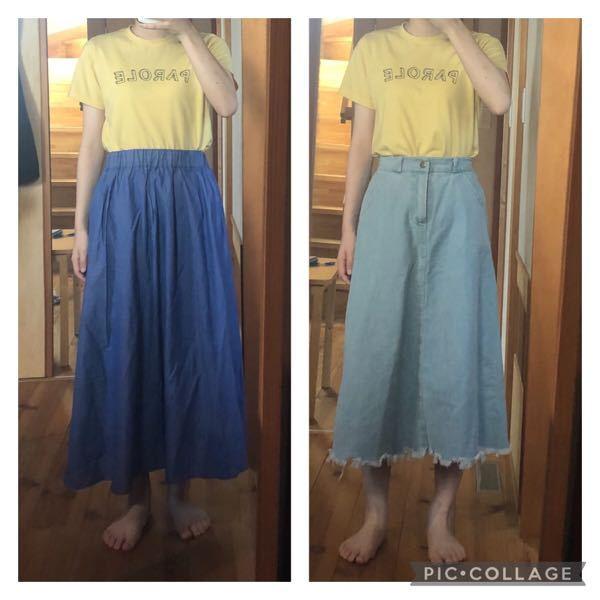 写真のスカートを比べた時、 左の腰部分から広がる柔らかいフレアスカートよりも Aラインのジーンズ生地のスカートの方が 痩せて見える気がするのですが これは骨格ストレートだからでしょうか?