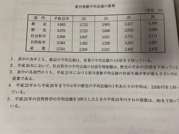 公務員試験の資料解釈についての問題で、数学というか単に日本語の問題だとは思うんですが、4番の「平均定価の1年当たりの平均」ってのは、23年から26年までの数を足して割る4するのと同じですか?