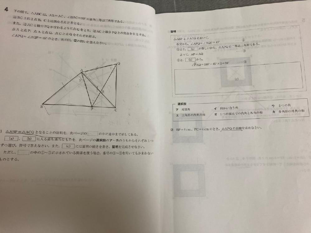 中学数学です。この問題の(2)の解き方を教えて下さい。