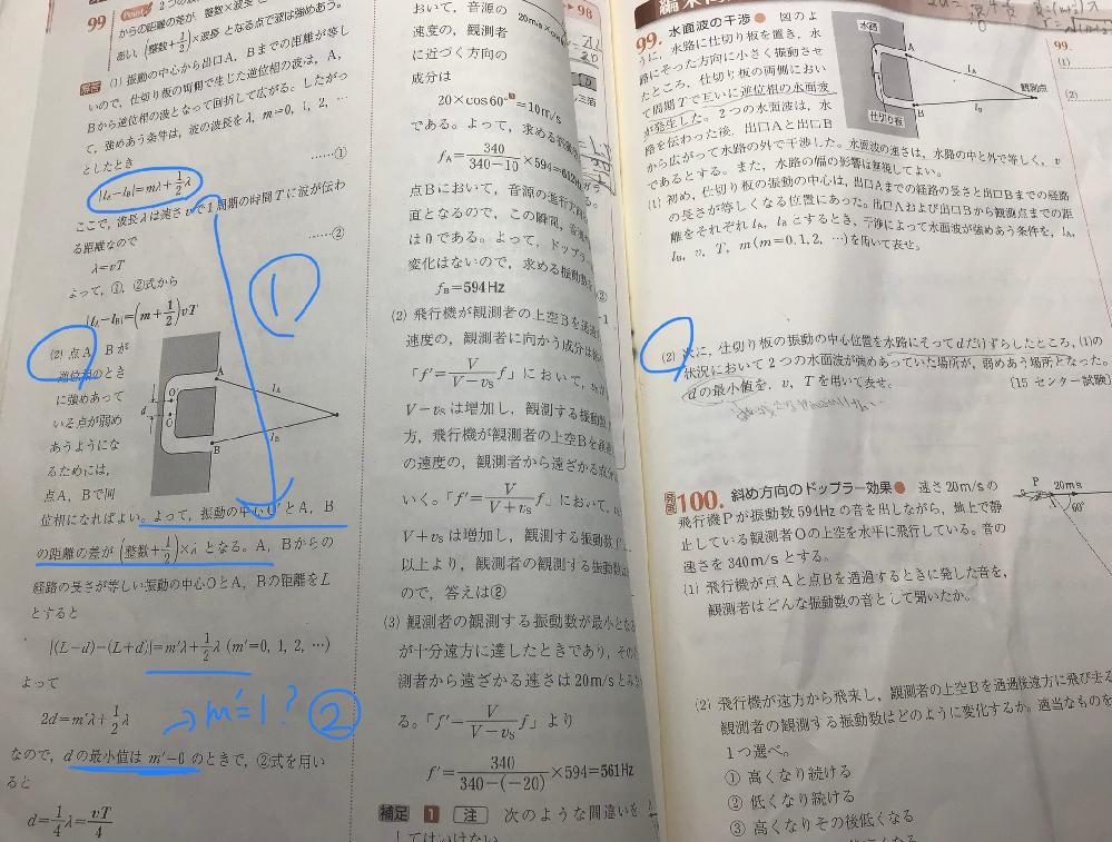 高校物理、波長の質問です。 (2)の青く書いてある2つの質問です。 ①(1)と逆位相から同位相になったのになぜ(m+1/2)λは変化しないのですか。位相が変わったら公式も逆になるのではないのですか。教えてください。 ②m=0なのですか。m=1ではないのですか。どのような仕組みなのでしょうか。教えてください。 よろしくお願いします。