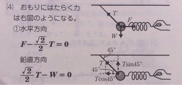 高校一年物理基礎の三角関数を用いた力の分解についての問題です。 下の写真の図で、cos45°とsin45°が√2/2になる理由を教えて下さい! 自分は√2/1にして間違えてしまいました。