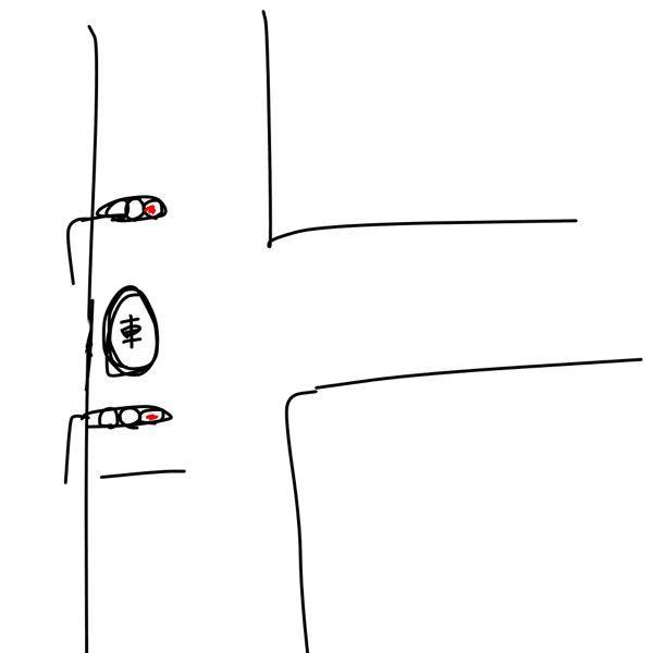 この場合車は進むべきですか?止まるべきですか?