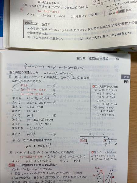 至急回答お願いします! 高3 数学II チャートについてです (1)について 2解を持つと言っているのに どうしてD≧0なんですか? 2解を持つならばD>0じゃないんですか?