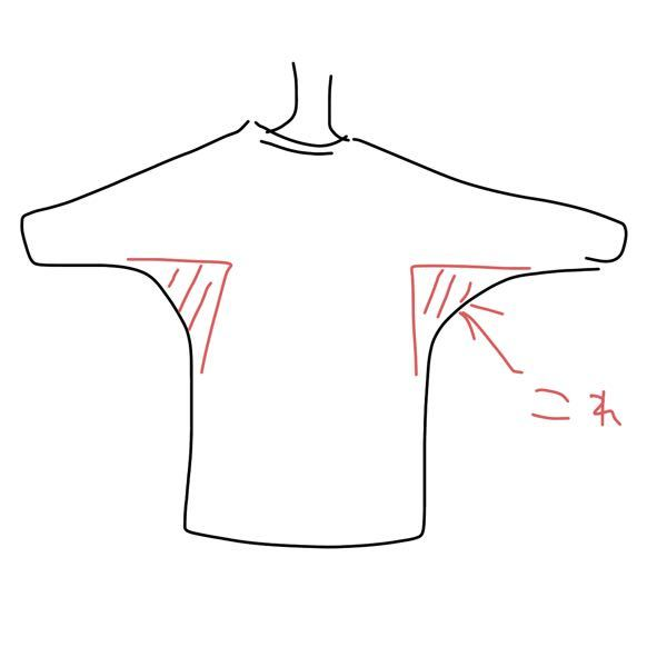 こういうシルエットの服ってなんて言うんですか? 写真の赤色の部分に余分に布があって、コウモリみたいなシルエットになる服……なんて調べたら出てくるんだろう