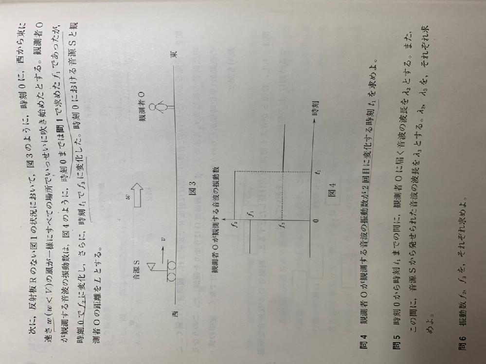 問4の答えに、 「観測者Oが観測する音波の振動数が2回目に変化する時刻t1は、風が吹き始めた時刻0に音源Sから発せられた音波が、観測者Oに届く時刻である」 とあるのですが、振動数がその時に変わる理屈がわかりません。解説お願いします。