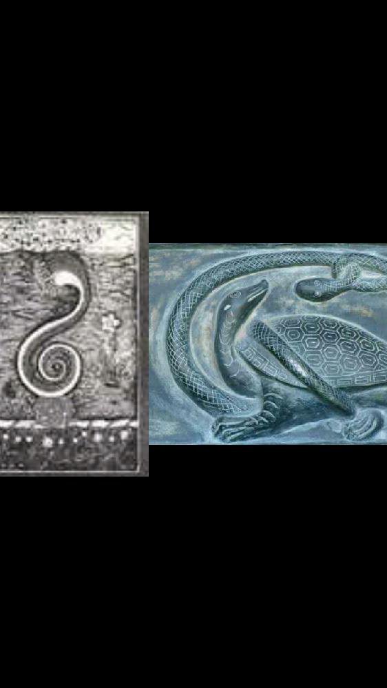 インドの世界蛇と中国の玄武って何で似てるの? どちらも亀に蛇が乗ってます。