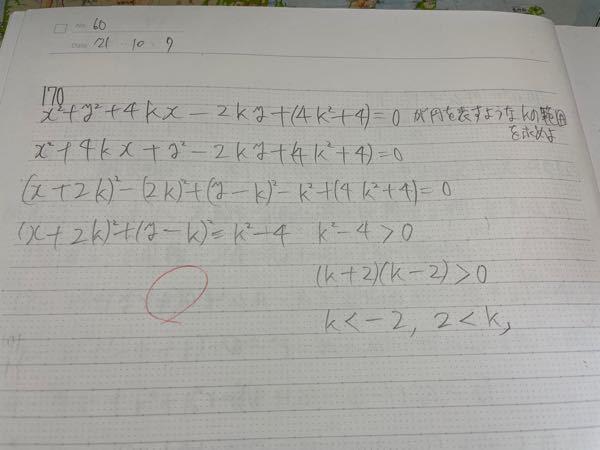 なぜこの式が円をあらわすためにk>0でなければならないのでしょうか?