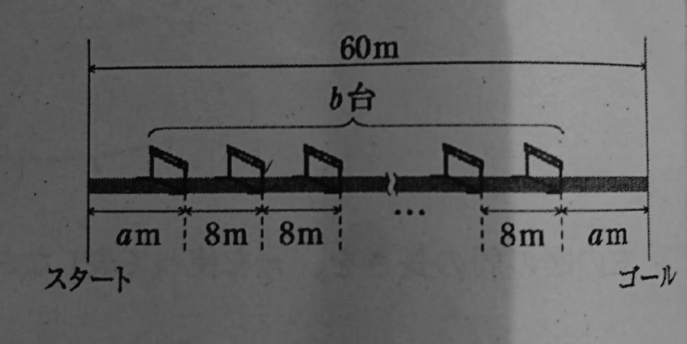 中学一年、数学のテストにあった問題です。わからないので説明お願いします。 「次の数量の間の関係を、等式または不等式で表しなさい。60メートルハードル走をするために、ハードルを並べた。スタート地点から一台目のハードルまでの距離と、最後のハードルからゴール地点までの距離はどちらもaメートルで、ハードルは8メートル間隔でb台置いた。」 答えは「2a+8b-8=60」だそうですが、なぜ8を引くのかわかりません。よろしくお願いします。