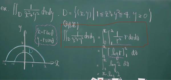 重積分について質問です。赤く囲んだところの式変形の意味がわかりません。なぜこのようになるのか説明してください。