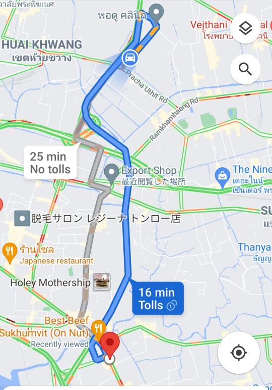 バンコクで、チョクチャイのpaolo hospitalから、オンヌットまで行く途中の、高速はいくらですか? チョクチャイへ行く時は高速代が40バーツだったのですが、帰り道のタクシーの運ちゃんは8...