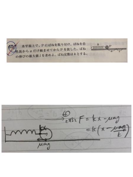 これは自然長からμmg/kだけ左の位置を中心とする単振動らしいですが、 自然長からμmg/kだけ離れている部分が釣り合いの位置ということしか分からず、それがどちら側か分からないです。