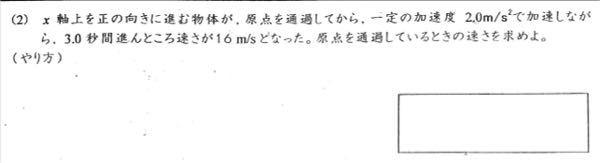 物理の問題を教えてください。 原点を通過しているときの速さを求められません。