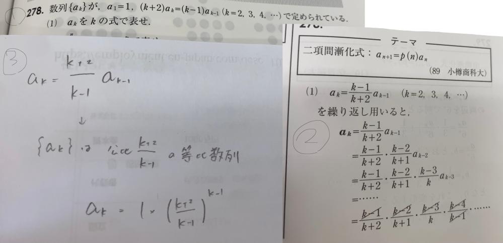 数列の漸化式の問題です。①が問題、②が解答、③が自分が解いたやつなんですけど③の何がダメなのかを教えていただきたいです