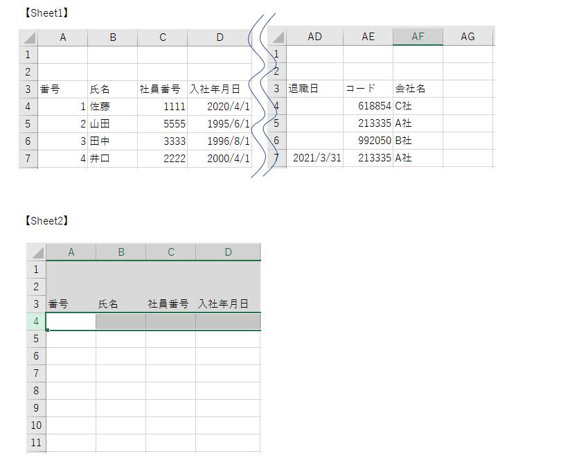 """VBAでコピー&ペーストがうまくできない VBA初心者で自分なりにコードを書いてマクロを作成しましたが、コピー&ペーストの部分だけうまくできません。 具体的には添付の通り、Sheet1のA列からAF列にデータがあり、3行目までは見出しなため、4行目から最終行まで全てコピーし、Sheet2の4行目以降に値で張り付けしたいです。 Worksheets(""""Sheet1"""").Range(""""AF4"""", """"A"""" & Worksheets(""""Sheet1"""").UsedRange.Rows.Count).Copy Worksheets(""""Sheet2"""").Range(""""A4"""").PasteSpecial Paste:=xlPasteValues Application.CutCopyMode = False コピーしたいデータは2100行ほどあるのに、実際には2000行ほどしかコピーできていません・・・。最終行を取得するコードが誤っているのでしょうか? どなたかご教示頂きたいです。"""