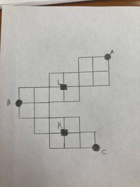 解説お願い致します。 回答は2です。 よろしくお願い致します。 下の図のように、平らな土地が道路によって、 同じ大きさの正方形で区画されている。 このとき、点Aから出発して点Bを通り点Cまでを...