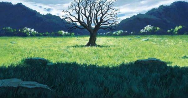 映画のおおかみこどもの雨と雪に出てきた 周りになにもなくて木が一つだけあるような綺麗な聖地は日本にもありますか? あれば是非教えていただきたいです。画像のような場所を探しています。なにか特別な力がありそうですよね。