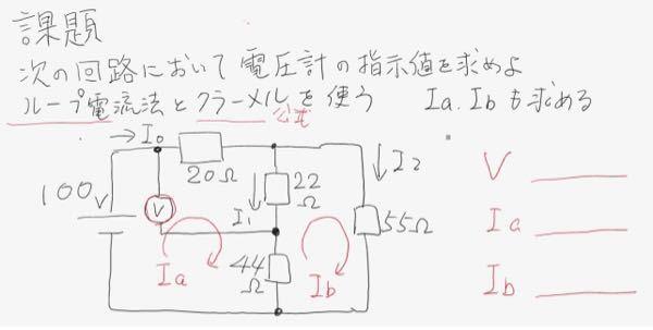 電気回路の問題です。教えてください。 ループ電流法 クラーメルの公式