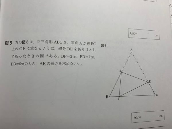 この問題を解くには、三角形BDFと三角形CFEの相似を使うのですがなぜこの二つの三角形は相似となるのでしょうか、、